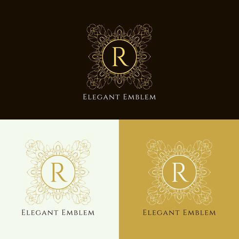 Abstract elegant emblem design set