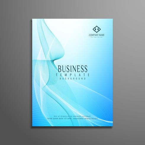 Abstract blue wavy business flyer template design
