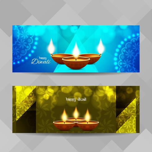 Abstract Happy Diwali decorative banners set vector
