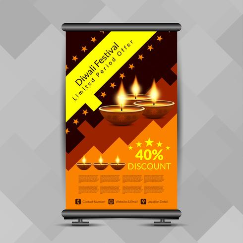 Abstract stylish Happy Diwali roll up banner design template vector