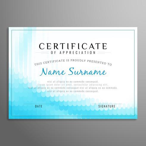 Plantilla de diseño abstracto moderno certificado vector