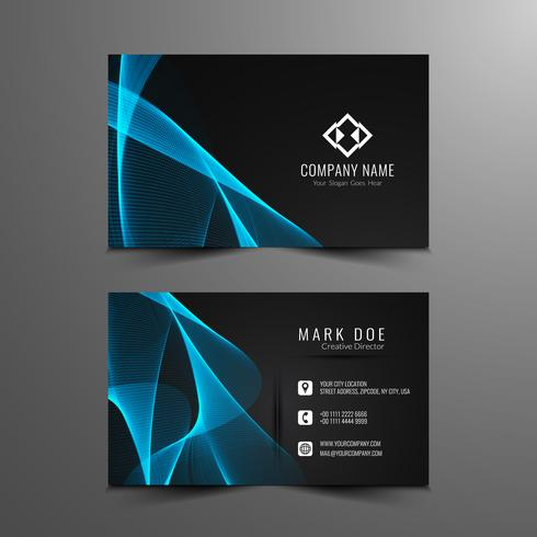 Abstract modern blue wavy business card template  vector