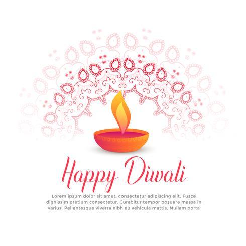 Diwali festival quema diya y mandala arte