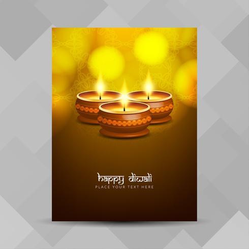 Modello di progettazione dell'opuscolo religioso astratto felice Diwali vettore