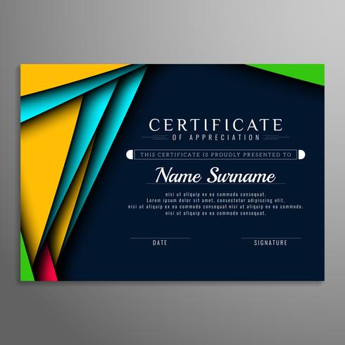 Certificat abstrait moderne vecteur
