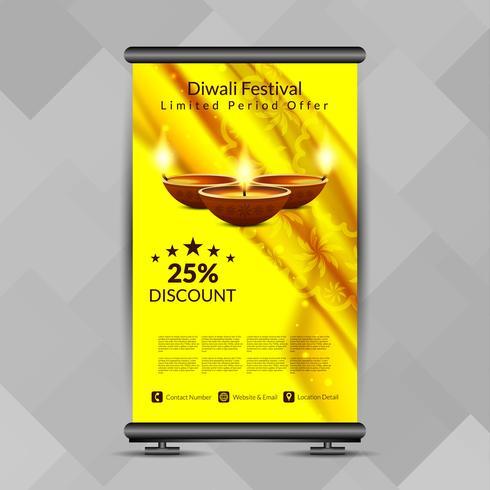 Abstraktes glückliches Diwali rollen oben Fahnendesignschablone