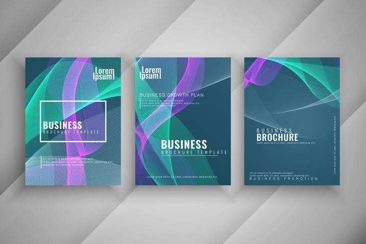 Conjunto de folleto de negocio ondulado colorido abstracto