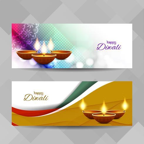 Jeu de bannières décoratives abstrait Happy Diwali