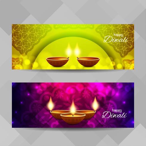 Conjunto de banners religiosos abstractos feliz Diwali vector