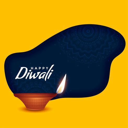 feliz diwali queimando diya em fundo amarelo