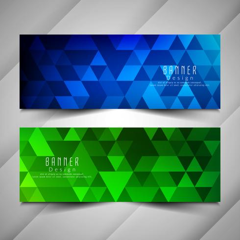 Abstract colorful geometric banners set vector