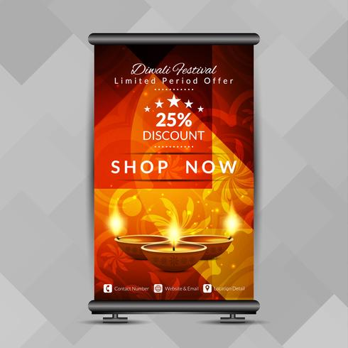 Abstract Happy Diwali elegant roll up banner design template vector
