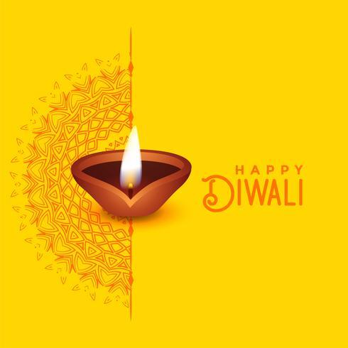 Diseño hermoso de la tarjeta de felicitación de Diwali con mandala arte y diya