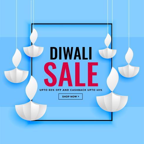 Banner de venta de diwali con diseño de papel diya.