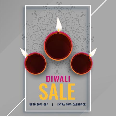 diwali försäljning affisch med festival diya lampor