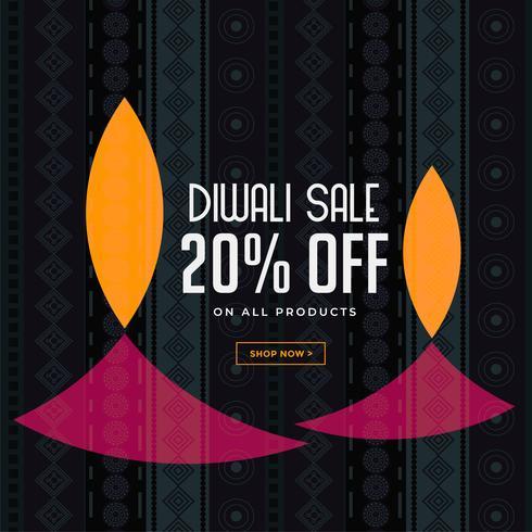 diwali verkoop achtergrond met creatieve diya