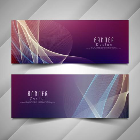 Abstract stylish colorful wavy banners set vector