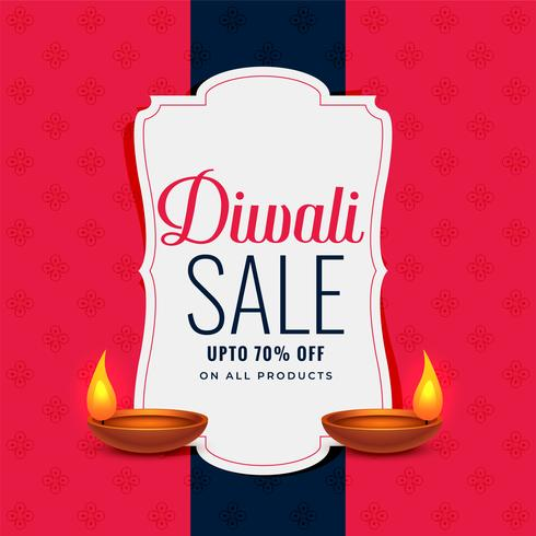 banner de venta de diwali de moda con dos lámparas diya