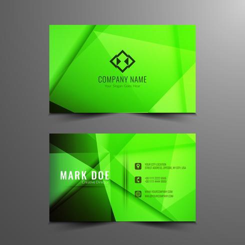 Modelo de cartão verde moderno abstrato