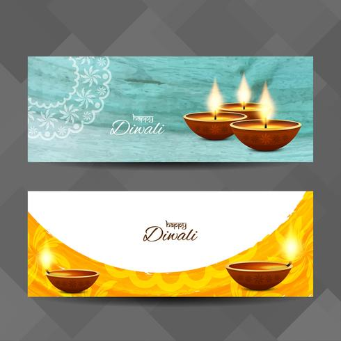 Conjunto de banners decorativos abstractos feliz Diwali