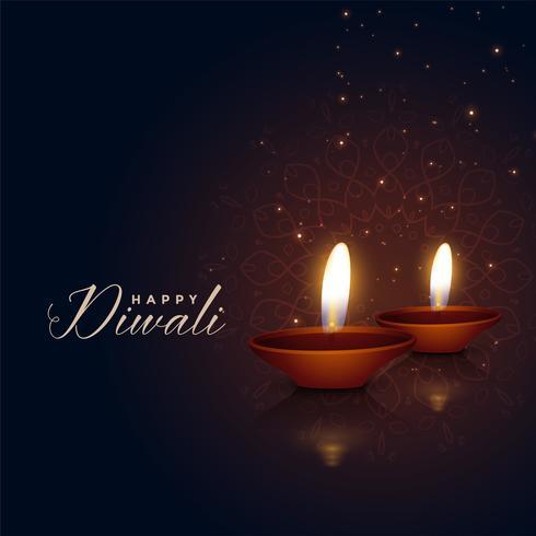 vackra två diwali festival diya på mörk bakgrund