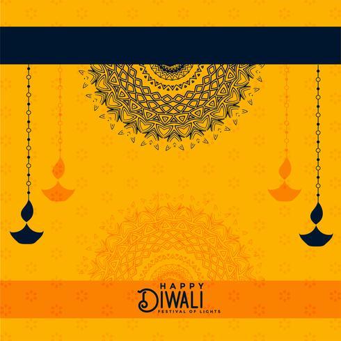 felice diwali sfondo decorativo giallo