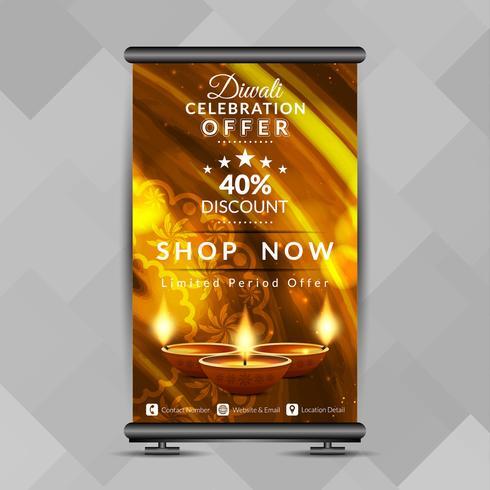 Abstrakt stilfull Glad Diwali rullar upp banners designmall