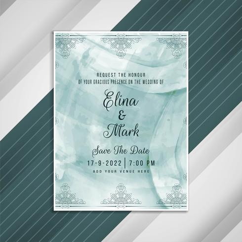 Abstract wedding invitation artistic card design vector