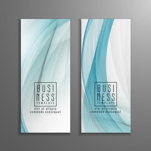 Abstract blue wavy business template set