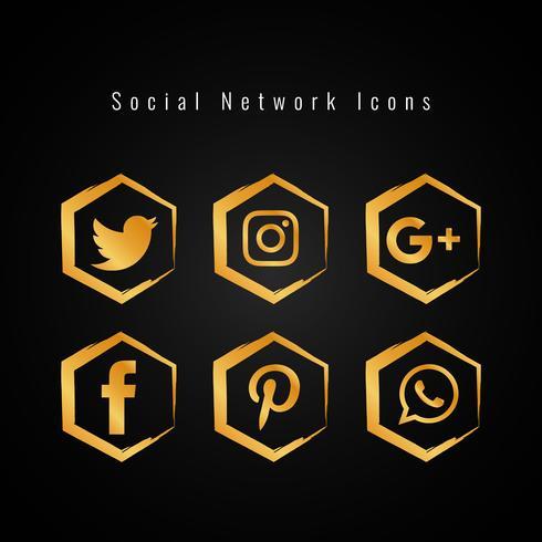 Abstrakte goldene Social Media-Ikonen eingestellt