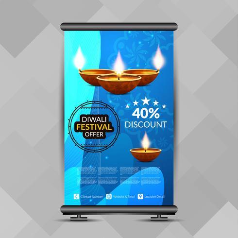 Resumen elegante feliz Diwali roll up banner plantilla de diseño