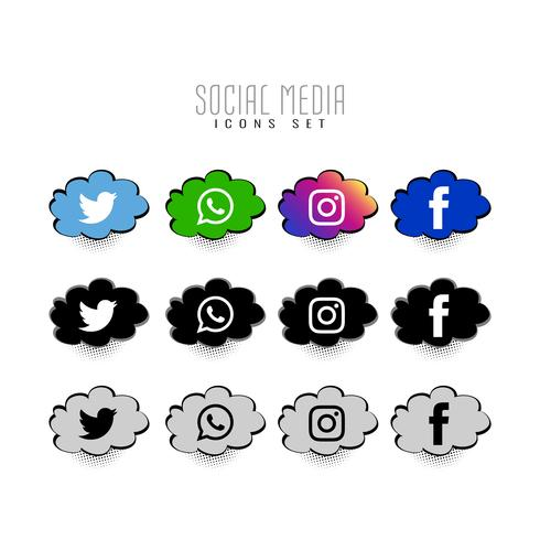 Abstracte sociale media komische pictogrammen instellen