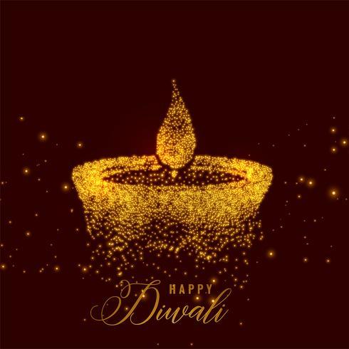 diya diwali criativo feito com partículas de ouro
