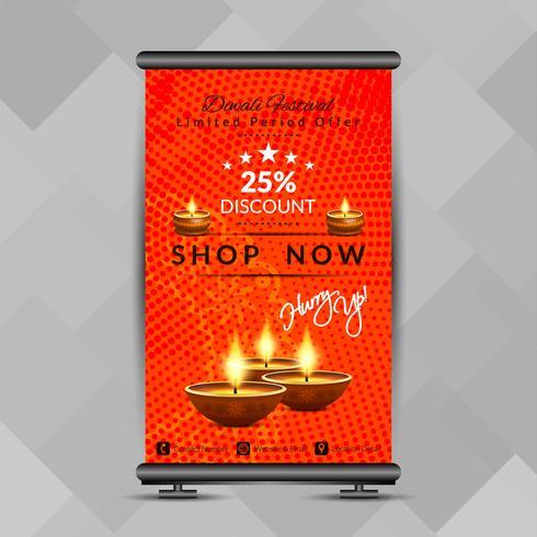 Resumen feliz Diwali roll up banner plantilla de diseño