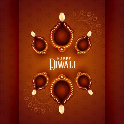 vackra diwali diya lampor på dekorativ bakgrund