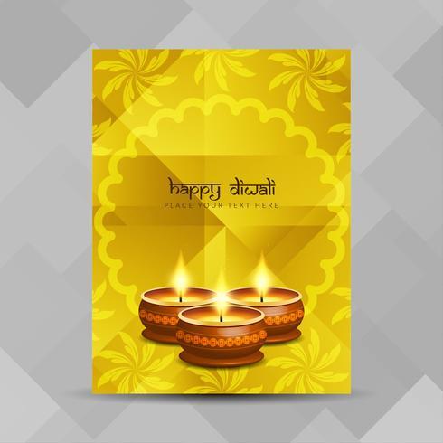 Modello di progettazione brochure Happy Diwali astratto vettore