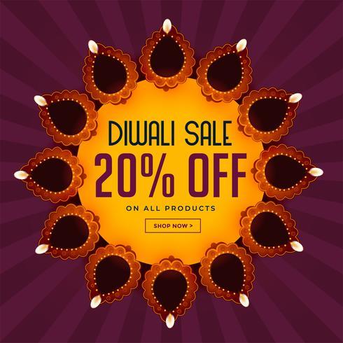 fundo de venda de diwali com bela decoração diya