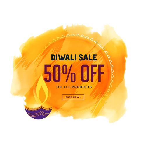 creatieve diwali verkoop banner met diya en aquarel achtergrond
