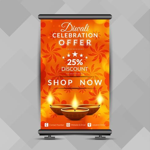 Sammanfattning Glad Diwali rulla upp banderolldesignmall