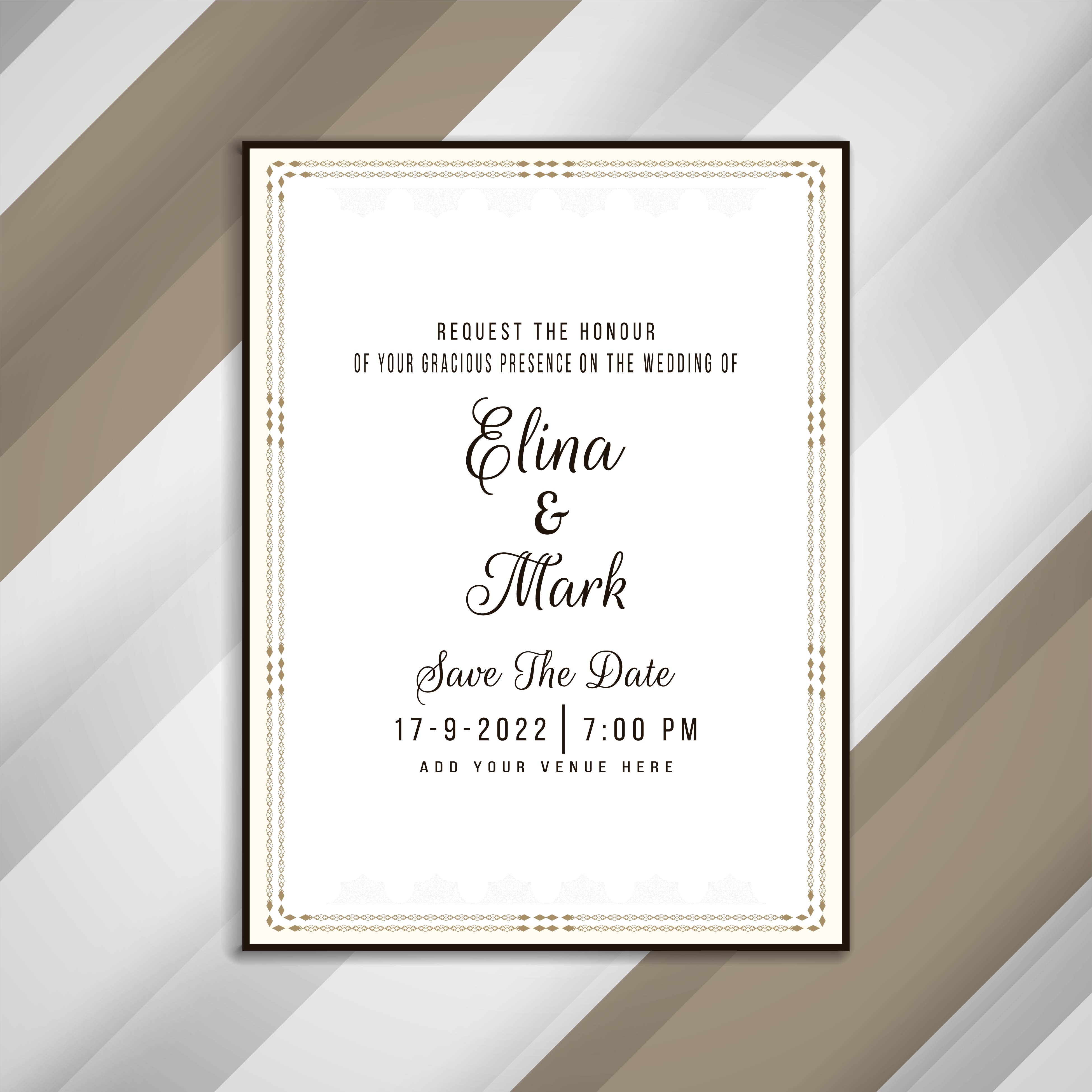 Elegant Wedding Invitation Cards Design: Abstract Elegant Wedding Invitation Card Design