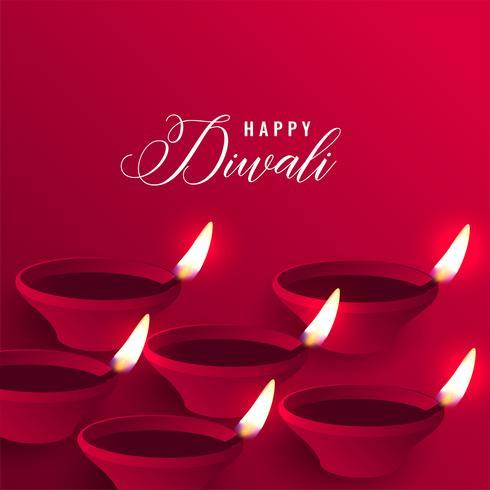 élégant fond joyeux diwali rouge diya
