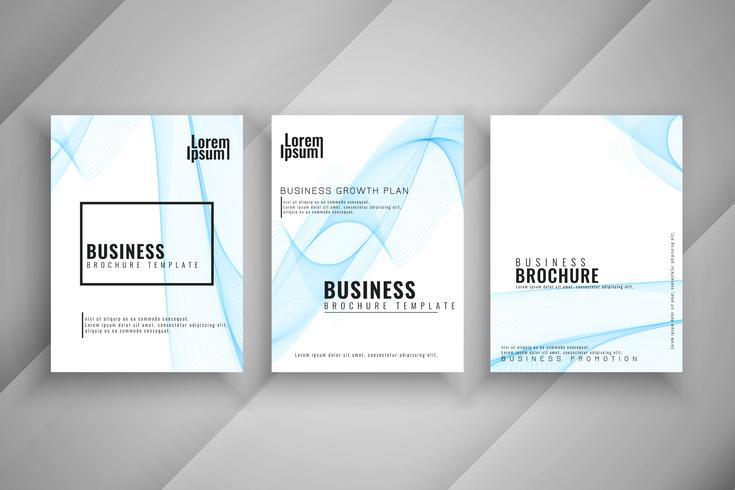 Brochura de negócios abstratos conjunto de modelo ondulado