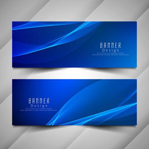 Conjunto de banners ondulado abstracto azul