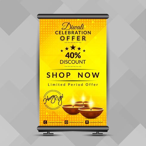 Resumen feliz Diwali elegante roll up banner plantilla de diseño