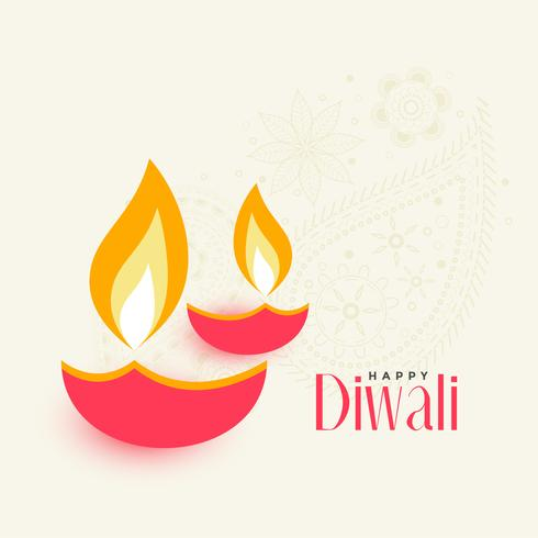 dois diya diwali em fundo branco