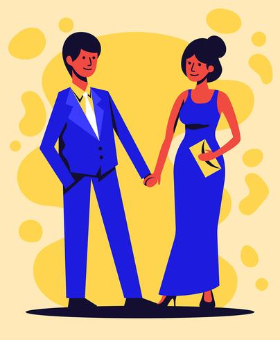 Couple In Formalwear Illustration