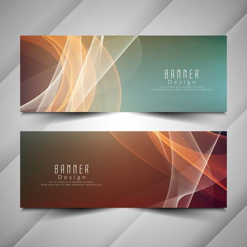 Conjunto de banners ondulado elegante colorido abstracto vector