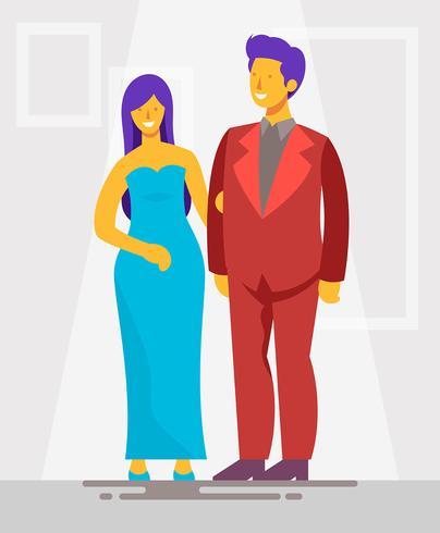 Casal na ilustração Formalwear