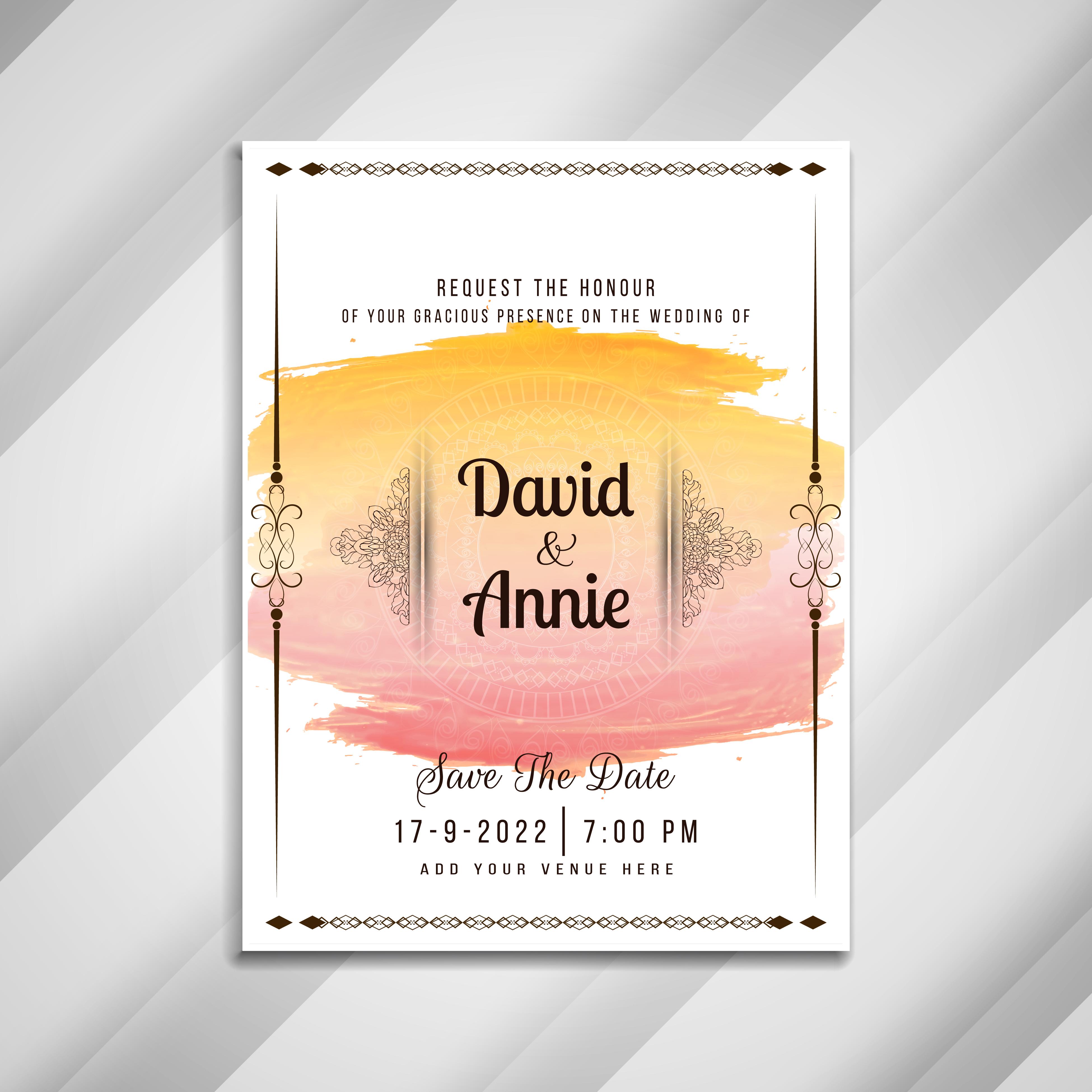 abstract beautiful wedding invitation card design 254656
