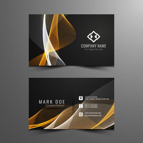 Abstract wavy Business card design vector